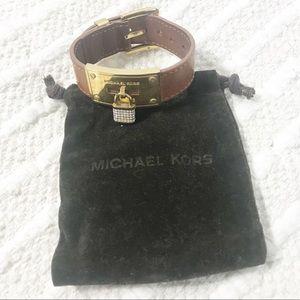 MICHAEL KORS Pave' Lock Leather Wrap Buckle Strap